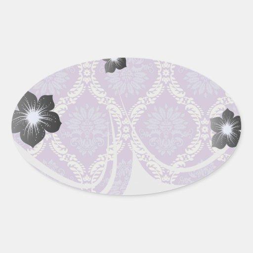 purple cream damask pattern oval sticker