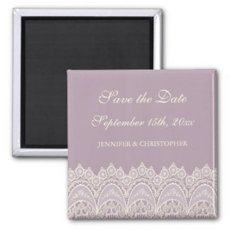 Purple Cream Lace Save the Date Magnet