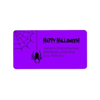 Purple Creepy Spider Halloween Address Labels