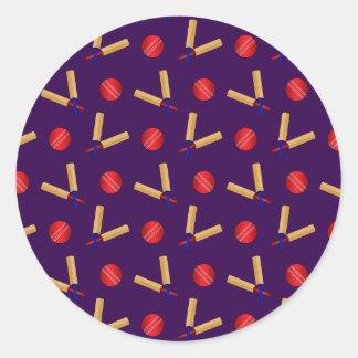 purple cricket pattern round sticker