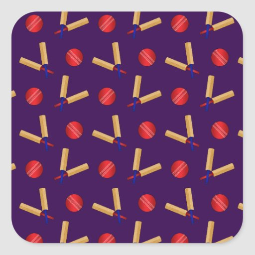 purple cricket pattern square sticker