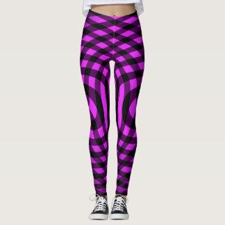 Purple criss cross stripes leggings