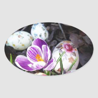 Purple Crocus and Floral Easter Eggs Oval Sticker