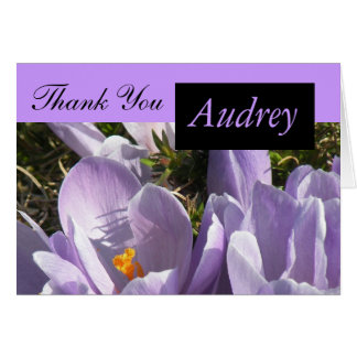 Purple Crocus Thank You Card with Name