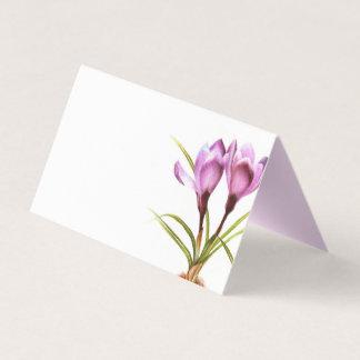 Purple crocus watercolor art guest place cards