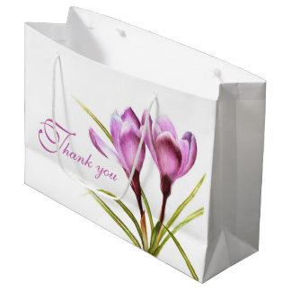 Purple crocus watercolor art thank you gift bag