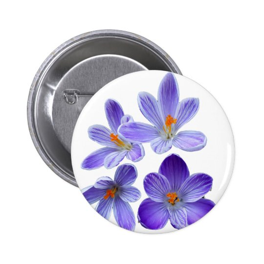 Purple crocuses 02 6 cm round badge