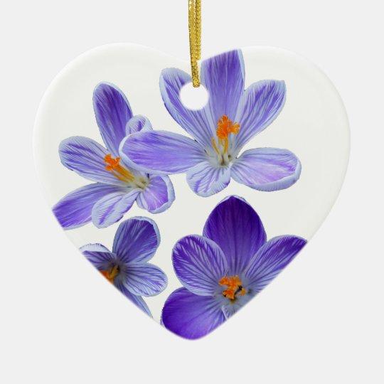 Purple crocuses 02 ceramic heart decoration