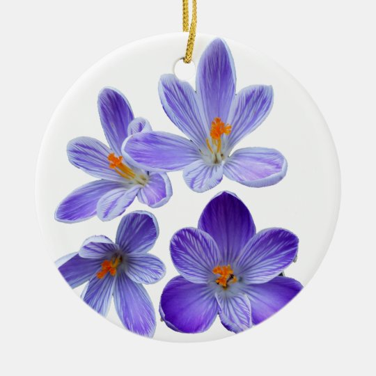 Purple crocuses 02 ceramic ornament