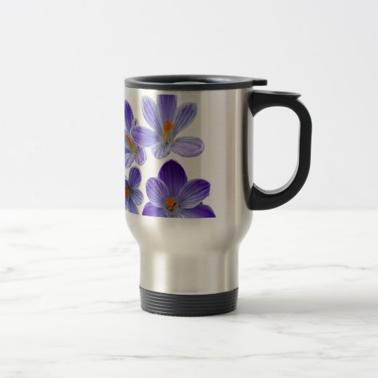 Purple crocuses 02 travel mug