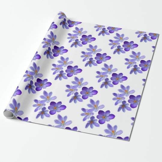 Purple crocuses 02 wrapping paper