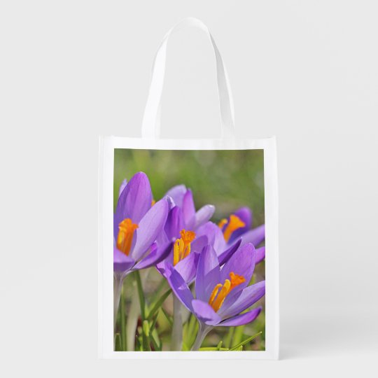 Purple crocuses reusable grocery bag