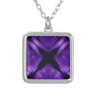 Purple cross and grid silver plated necklace