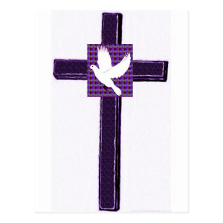 Purple Cross And White Dove Postcard
