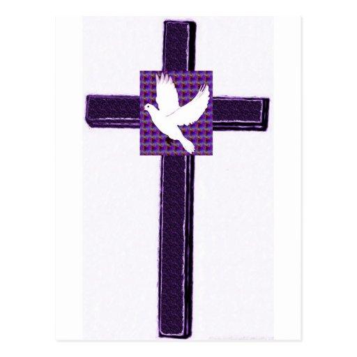 Purple Cross And White Dove Postcard