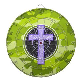 Purple Cross; bright green camo, camouflage Dartboards