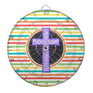Purple Cross; Bright Rainbow Stripes Dartboard