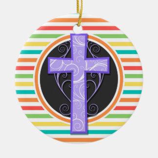Purple Cross; Bright Rainbow Stripes Christmas Tree Ornament