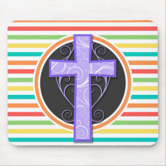 Purple Cross; Bright Rainbow Stripes Mouse Pads