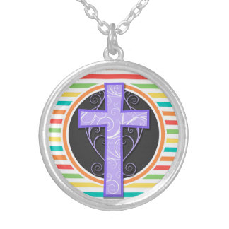 Purple Cross Bright Rainbow Stripes Pendants