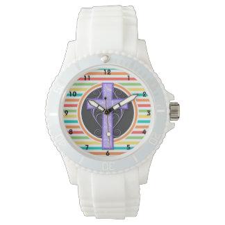 Purple Cross; Bright Rainbow Stripes Wristwatch
