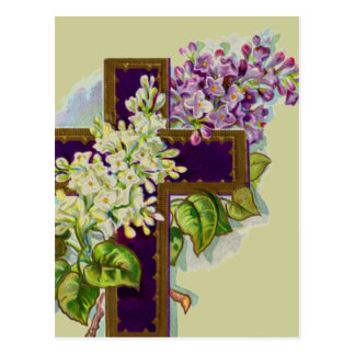 Purple Cross With Flowers Postcard