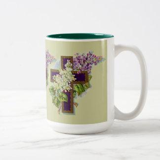 Purple Cross With Flowers Two-Tone Coffee Mug