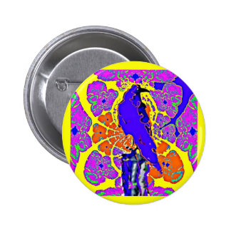 Purple Crow Sitting on Fence Post Abstract Gifts Button
