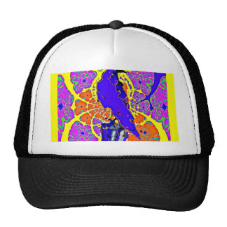 Purple Crow Sitting on Fence Post Abstract Gifts Hats