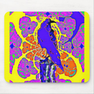 Purple Crow Sitting on Fence Post Abstract Gifts Mousepads