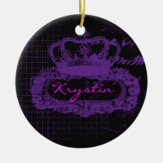 Purple Crown Grunge Round Ceramic Decoration