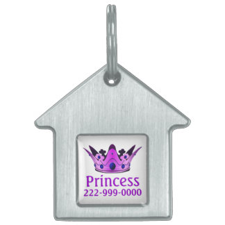 Purple Crown Pet Name Tag