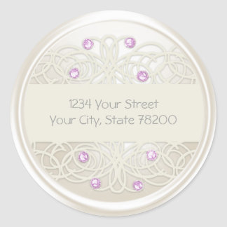 Purple Crystal and Pearl Damask Return Address Round Sticker