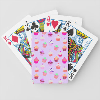 Purple Cupcake Confetti Bicycle Playing Cards