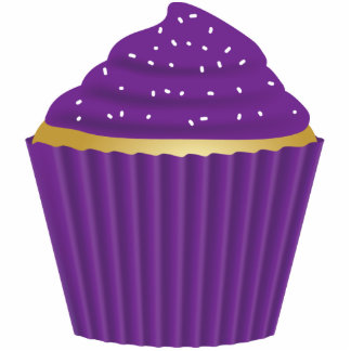 Purple Cupcake with White Sprinkles Standing Photo Sculpture