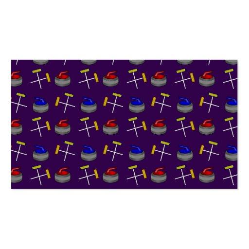 purple curling pattern business cards