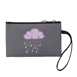 Purple Curls Rain Cloud With Falling Stars Coin Wallet