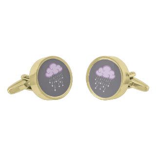 Purple Curls Rain Cloud With Falling Stars Gold Finish Cuff Links