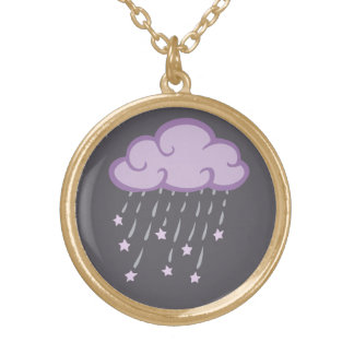 Purple Curls Rain Cloud With Falling Stars Gold Plated Necklace