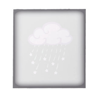 Purple Curls Rain Cloud With Falling Stars Notepads