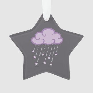 Purple Curls Rain Cloud With Falling Stars Ornament