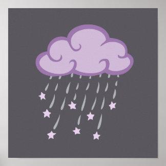 Purple Curls Rain Cloud With Falling Stars Poster