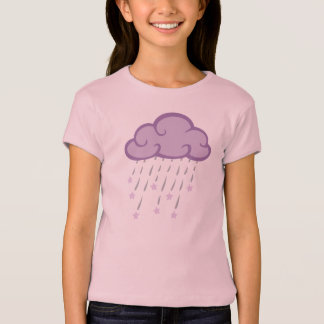 Purple Curls Rain Cloud With Falling Stars T-Shirt