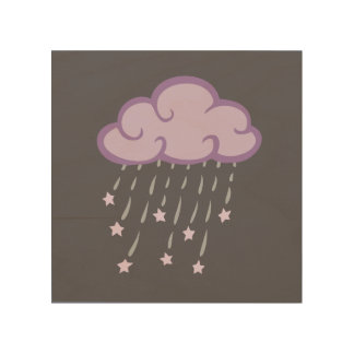 Purple Curls Rain Cloud With Falling Stars Wood Canvases