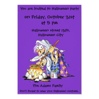 Purple Custom Halloween Party Invitations - Witch