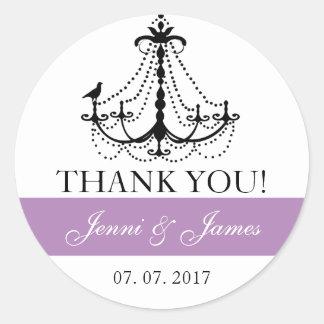 Purple Cute Chandelier Wedding Favor Thank You Round Sticker