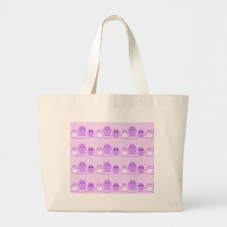 Purple Cute Owl Family Large Tote Bag