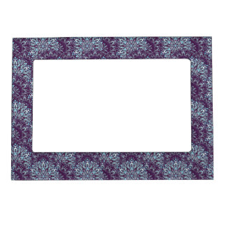 Purple cyan mandala pattern. magnetic picture frame