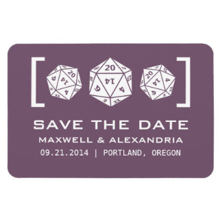 Purple D20 Dice Gamer Save the Date Magnet