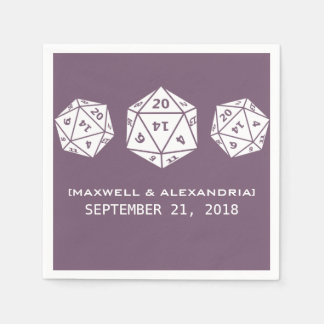 Purple D20 Dice Gamer Wedding Paper Napkins